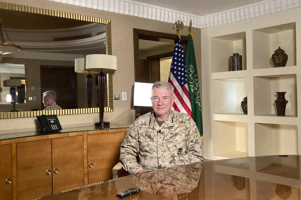 """Marine Gen. Frank McKenzie, top U.S. commander for the Middle East, speaks to reporters traveling with him in Riyadh, Saudi Arabia, on Sunday, May 23, 2201. """"The Middle East writ broadly is an area of intense competition between the great powers. And I think that as we adjust our posture in the region, Russia and China will be looking very closely to see if a vacuum opens that they can exploit,"""" he says. (AP Photo/Lolita Baldor)"""
