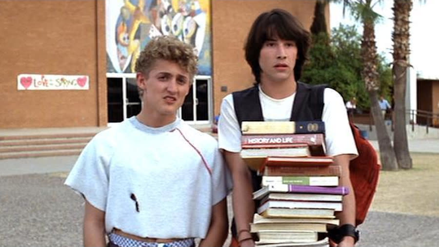 Bill and Ted attended San Dimas High School in the first two movies. (Credit: Orion Pictures)