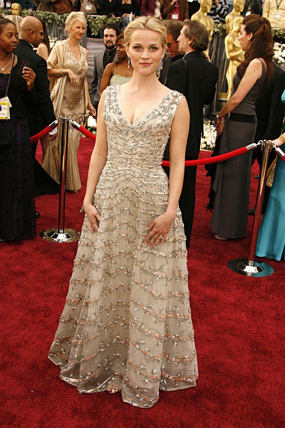 <p>The vintage route has always proven to be a sartorial success—like Reese Witherspoon in vintage Christian Dior when she took home the best actress award for <em>Walk the Line. </em></p>