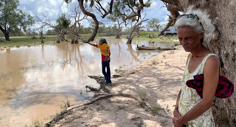 Polly Cutmore and her sister, Tony, by a water hole near the Pilliga bore.