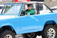 <p>Miles Teller drives away in his blue Ford Bronco after a workout on Thursday in L.A.</p>