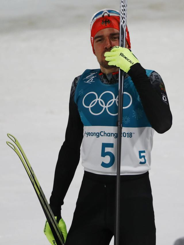 Nordic Combined Events - Pyeongchang 2018 Winter Olympics - Men's Individual 10 km Final - Alpensia Cross-Country Skiing Centre - Pyeongchang, South Korea - February 20, 2018 - Gold medalist, Johannes Rydzek of Germany reacts. REUTERS/Dominic Ebenbichler
