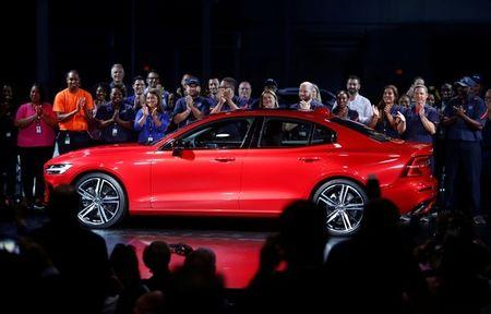 The Volvo S60 is revealed at a ceremony during the inauguration of Volvo Cars first U.S. production plant in Ridgeville, South Carolina, U.S., June 20, 2018.  REUTERS/Randall Hill