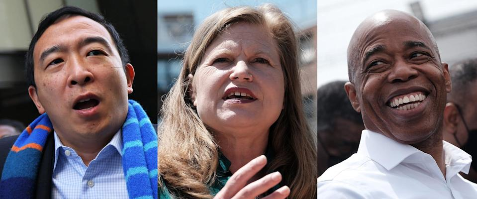 The front-runners of the New York City mayoral race are, from left, Andrew Yang, Kathryn Garcia and Eric Adams.
