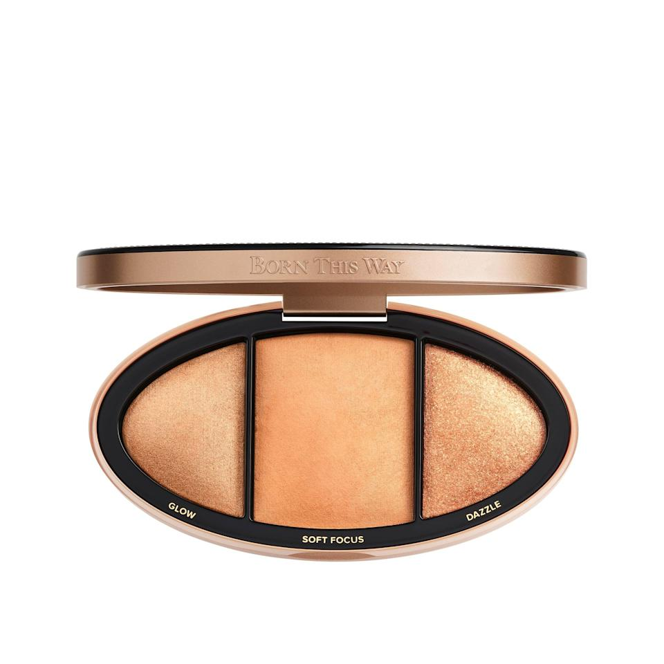 """<p>This <a href=""""https://www.popsugar.com/buy/Too-Faced-Born-Way-Turn-Up-Light-Highlighting-Palette-584462?p_name=Too%20Faced%20Born%20This%20Way%20Turn%20Up%20The%20Light%20Highlighting%20Palette&retailer=toofaced.com&pid=584462&price=42&evar1=bella%3Aus&evar9=47571081&evar98=https%3A%2F%2Fwww.popsugar.com%2Fbeauty%2Fphoto-gallery%2F47571081%2Fimage%2F47571380%2FToo-Faced-Born-This-Way-Turn-Up-Light-Highlighting-Palette&list1=shopping%2Cmakeup%2Cbeauty%20products%2Csummer%2Csummer%20beauty%2Cbeauty%20shopping%2Cmakeup%20palettes%2Ceyeshadow%20palettes&prop13=api&pdata=1"""" class=""""link rapid-noclick-resp"""" rel=""""nofollow noopener"""" target=""""_blank"""" data-ylk=""""slk:Too Faced Born This Way Turn Up The Light Highlighting Palette"""">Too Faced Born This Way Turn Up The Light Highlighting Palette </a> ($42) will give you the ultimate glow.</p>"""