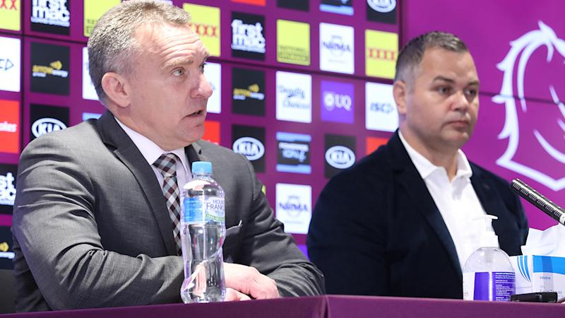 Broncos CEO Paul White and Anthony Seibold speak to the media after announcing Seibold would be stepping down as coach. (Photo by Jono Searle/Getty Images)