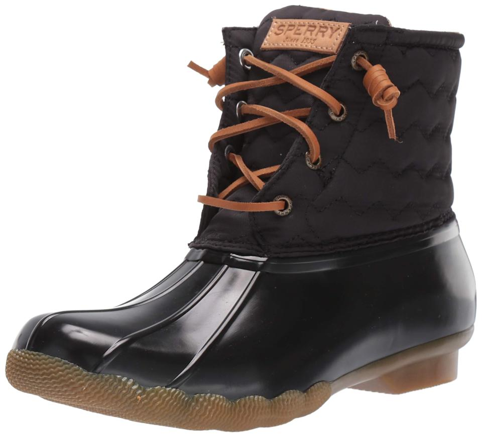 "<h3>Sperry Waterproof Boot<br></h3><br>On the opposite end of the spectrum are the super-prepared folks already shopping for inclement weather, helping Sperry's classic, weatherproof duck boot enjoy a 57% increase in sales, moving from slot 383 to 243. <br><br><em>*August 2020 Mover and Shaker</em><br><br><strong>Sperry</strong> Saltwater Chevron Quilt Nylon Boots, $, available at <a href=""https://amzn.to/2qL1qpa"" rel=""nofollow noopener"" target=""_blank"" data-ylk=""slk:Amazon"" class=""link rapid-noclick-resp"">Amazon</a>"