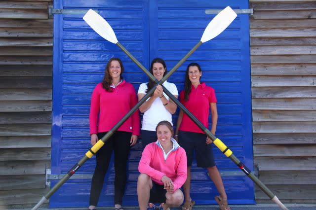 Undated handout photo issued by Carver PR of (left to right) Isabel Burnham, 30, Laura Penhaul, 31,  Natalia Cohen, 40, and Emma Mitchell, 29 (front), members of the Coxless Crew made up of six women, as the group of adventurers are setting off on one of the most challenging expeditions on the planet - rowing across the Pacific Ocean. PRESS ASSOCIATION Photo. Issue date: Monday April 20, 2015. The women, dubbed the Coxless Crew, are heading out from the west coast of America for a journey of 8,446 miles across the world's largest expanse of open water. See PA story ADVENTURE Pacific. Photo credit should read: Natalia Cohen/PA WireNOTE TO EDITORS: This handout photo may only be used in for editorial reporting purposes for the contemporaneous illustration of events, things or the people in the image or facts mentioned in the caption. Reuse of the picture may require further permission from the copyright holder.