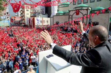 Turkish President Erdogan greets his supporters in Trabzon