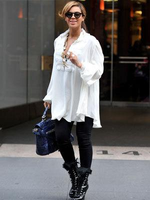<p>Beyonce on the street in New York in November.</p>