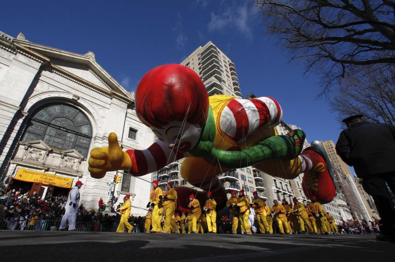 The Ronald McDonald balloon floats down Central Park West during the 87th Macy's Thanksgiving Day Parade in New York