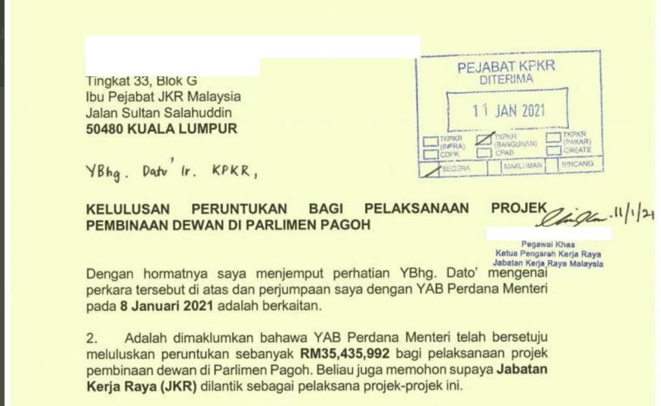 A screenshot of the letter floating around on social media alleging permission for a hall in Pagoh. — Picture via social media
