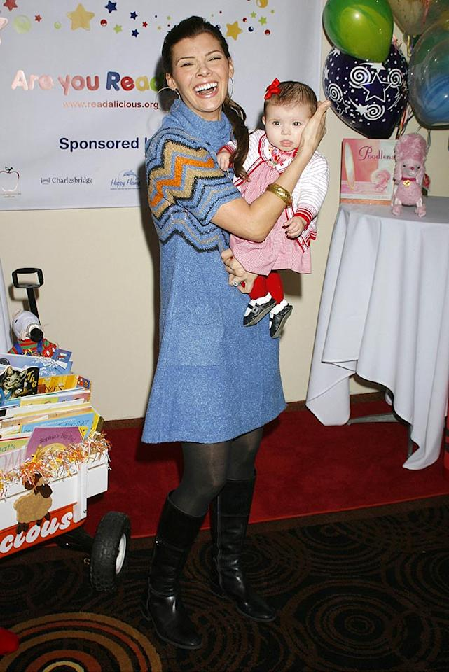 "Looks like young Estella isn't quite as ready for the camera as her mom, former Miss USA/actress Ali Landry. Jeffrey Mayer/<a href=""http://www.wireimage.com"" target=""new"">WireImage.com</a> - March 1, 2008"