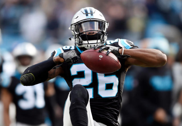 FILE - This Dec. 17, 2017 file photo shows Carolina Panthers' Daryl Worley (26) celebrating his interception against the Green Bay Packers during the first half of an NFL football game in Charlotte, N.C. The Philadelphia Eagles have released Worley hours after he was arrested. NFL Network reported that Worley was arrested Sunday, April 15, 2018 near the teams practice facility and that police used a Taser on him after he became combative. The Eagles traded wide receiver Torrey Smith to the Carolina Panthers for Worley in March. (AP Photo/Mike McCarn)
