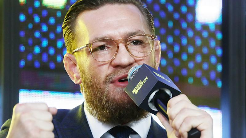 Conor McGregor, pictured here announcing his comeback in Russia.