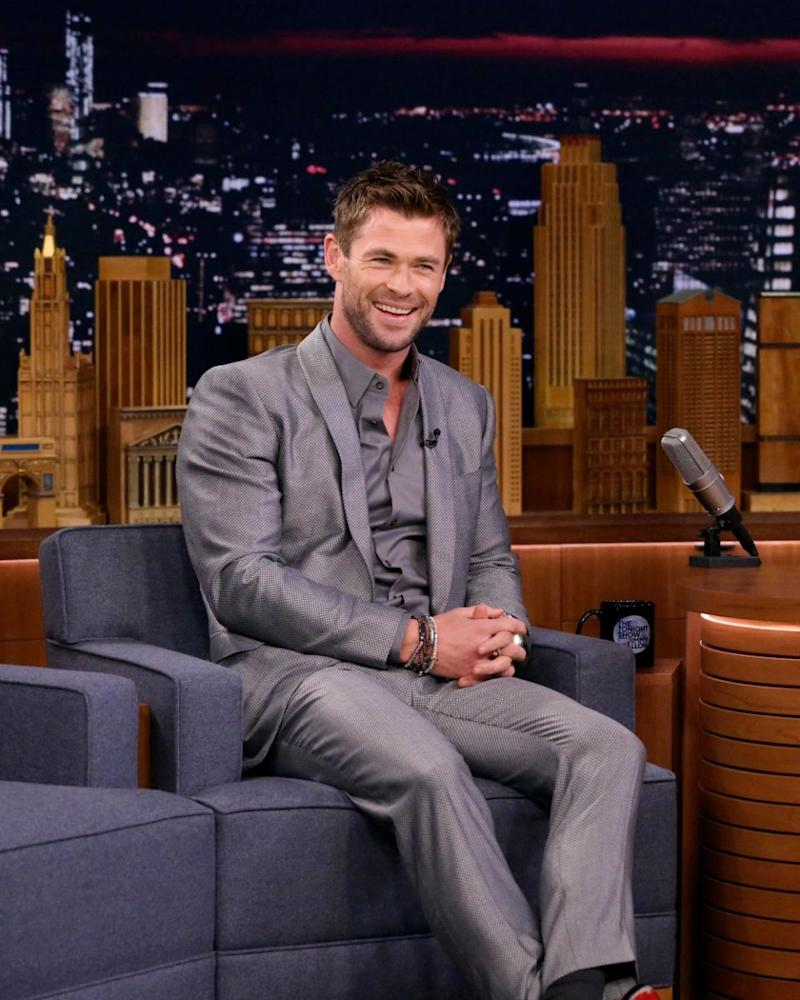 Chris Hemsworth (here on The Tonight Show recently) apparently had a job proposal for his former co-star Ray Meagher recently. Source: Getty