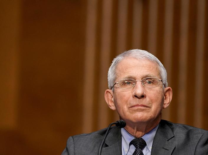 <p>Dr Anthony Fauci, director of the National Institute of Allergy and Infectious Diseases, speaks during a Senate Health, Education, Labor and Pensions Committee hearing to examine an update from Federal officials on efforts to combat Covid-19 on Tuesday, 11 May, 2021</p> (AP)