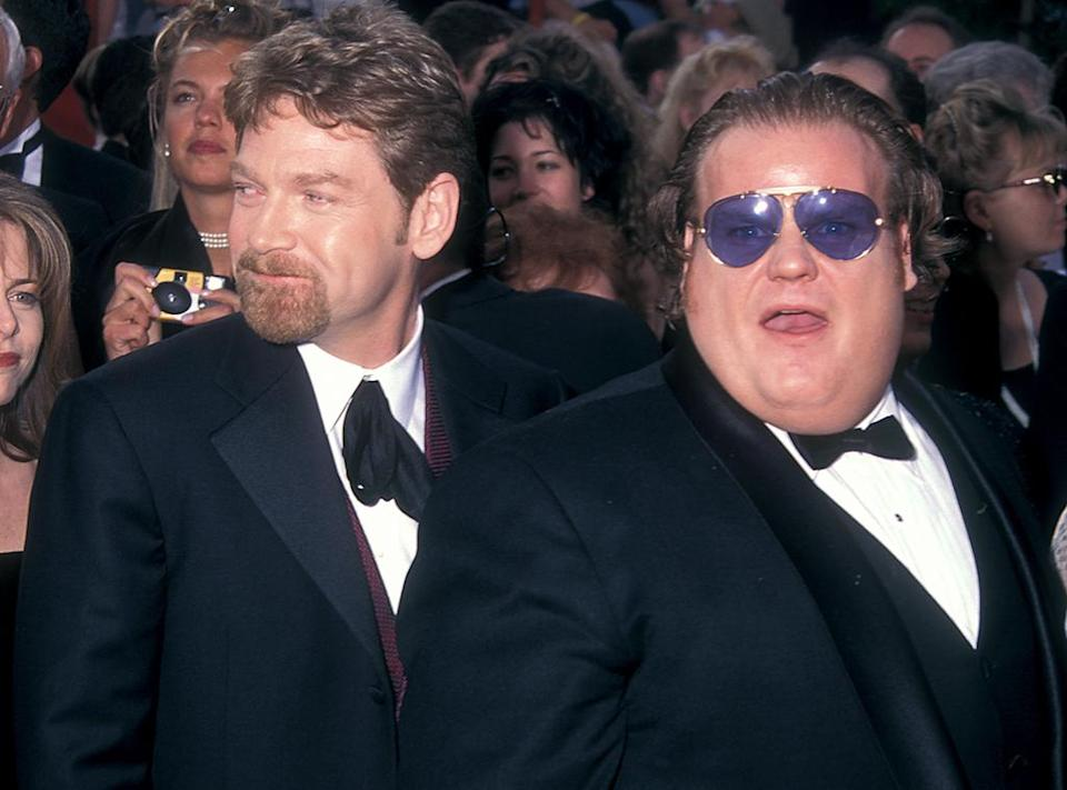 <p>The two actors both served as presenters at the 1997 Oscar ceremony. Sadly, Farley died less than nine months later. (Photo: Barry King/WireImage) </p>