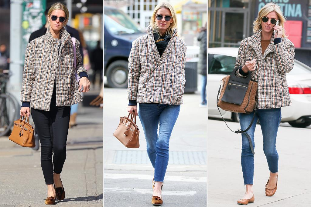 """<p>Nicky Hilton Rothschild has perfected her city winter uniform: a cool <a href=""""https://www.elliemaestudios.com/products/georgie?_pos=1&_sid=c912c9ecd&_ss=r"""">plaid puffer</a>, skinny jeans, top-handle handbag and chic flats to get her from point A to B in a flash.</p><p><strong>Look for Less:</strong> London Fog """"Penelope"""" Heritage Puffer Jacket, $87.75; <a href=""""http://www.anrdoezrs.net/links/7799179/type/dlg/sid/PEO,IReallyLoveMy:PriyankaChopra'sFavoriteEarrings&More!,kratofilc,Sty,Gal,6007248,202003,I/https://www.zappos.com/p/london-fog-penelope-heritage-puffer-jacket/product/9344489"""" target=""""_blank"""" rel=""""nofollow"""">zappos.com</a></p>"""