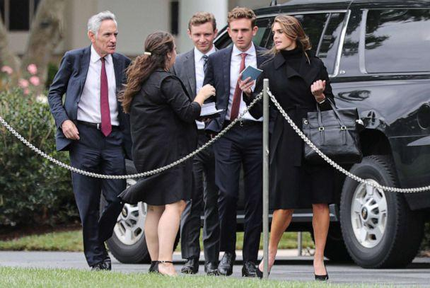 PHOTO: Counselor to the President Hope Hicks and White House coronavirus adviser Dr. Scott Atlas, walk on the South Lawn of the White House before they enter the Presidential motorcade in Washington, Sept. 12, 2020. (Oliver Contreras-POOL/EPA via Shutterstock, FILE)
