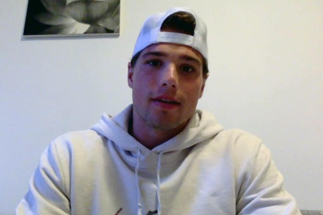 In this photo made from video, Minnesota Wild NHL hockey player Kevin Fiala speaks with reporters from his home in Sweden, Wednesday, April 29, 2020. Fiala's emergence as a go-to scorer before the NHL went on hiatus was the best part of the Minnesota Wild's season so far. Fiala had already set a career high with 31 assists and matched his career best with 23 goals before the schedule was halted by the virus outbreak. (Dave Campbell/Zoom via AP)