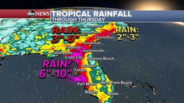PHOTO: Rainfall totals could reach 6 to 8 inches or more from southwest Florida all the way into Georgia and the Carolinas through Thursday. (ABC News)