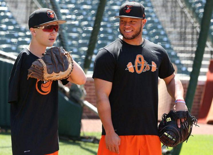 Luke Terry got some advice from several Orioles players, including catcher Welington Castillo. (Orioles)