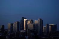 FILE PHOTO: Canary Wharf stands in London