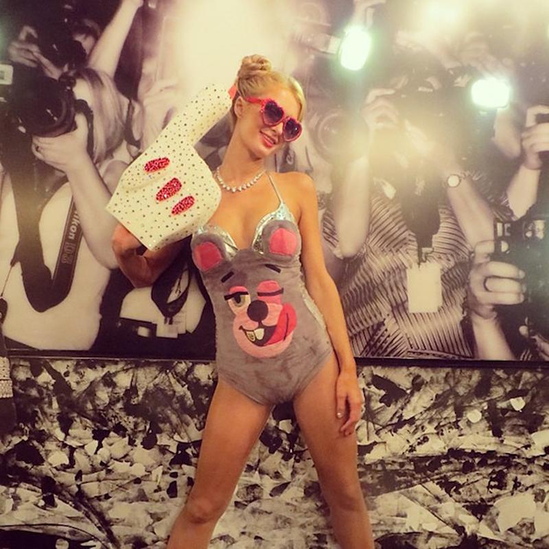 """<p>No <i>Blurred Lines</i> here! Hilton perfectly re-created the ensemble that Miley Cyrus wore to get down with Robin Thicke during their <a rel=""""nofollow"""" href="""" http://www.mtv.com/news/1713017/miley-cyrus-robin-thicke-vma-twerk/"""">shocking performance</a> at the 2013 MTV Video Music Awards. (Photo: <a rel=""""nofollow"""" href=""""https://www.instagram.com/p/f-T4M8qgHu/"""">Instagram</a>) </p>"""