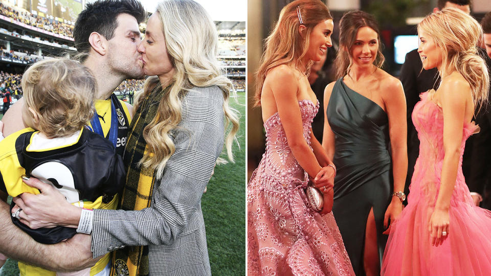 Trent Cotchin, pictured here with his wife after the 2017 AFL grand final.