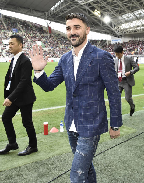 Former Spain international David Villa waves to fans as he visits Noevir Stadium in Kobe, western Japan, Saturday, Dec. 1, 2018. Villa announced to play for Vissel Kobe soccer club in the J1 League from the next season. (Junko Ozaki/Kyodo News via AP)