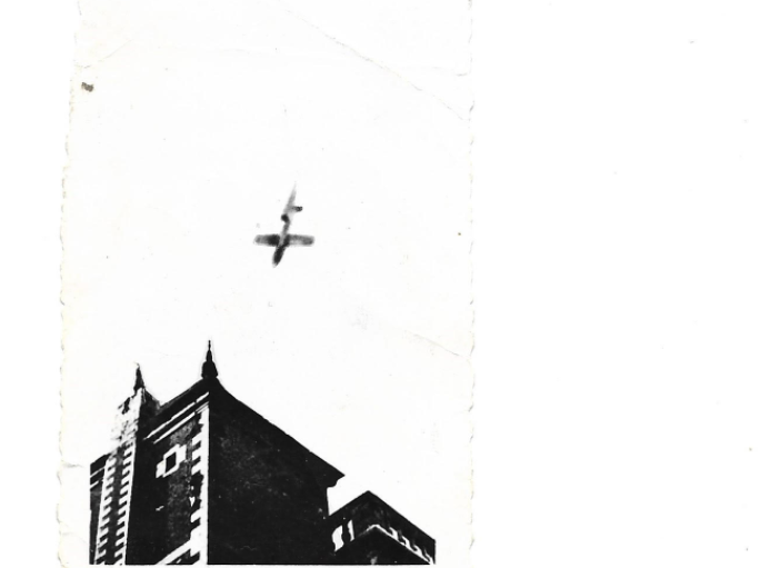 Alice said this is a photo her family snapped in Belgium during the war. This is a buzz bomb being dropped from the sky.