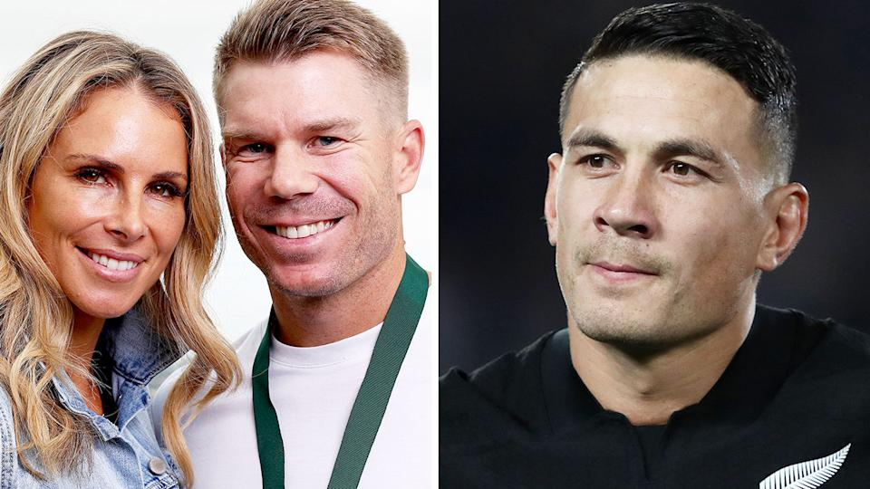 Pictured here, Candice and David Warner, with Sonny Bill Williams on the right.