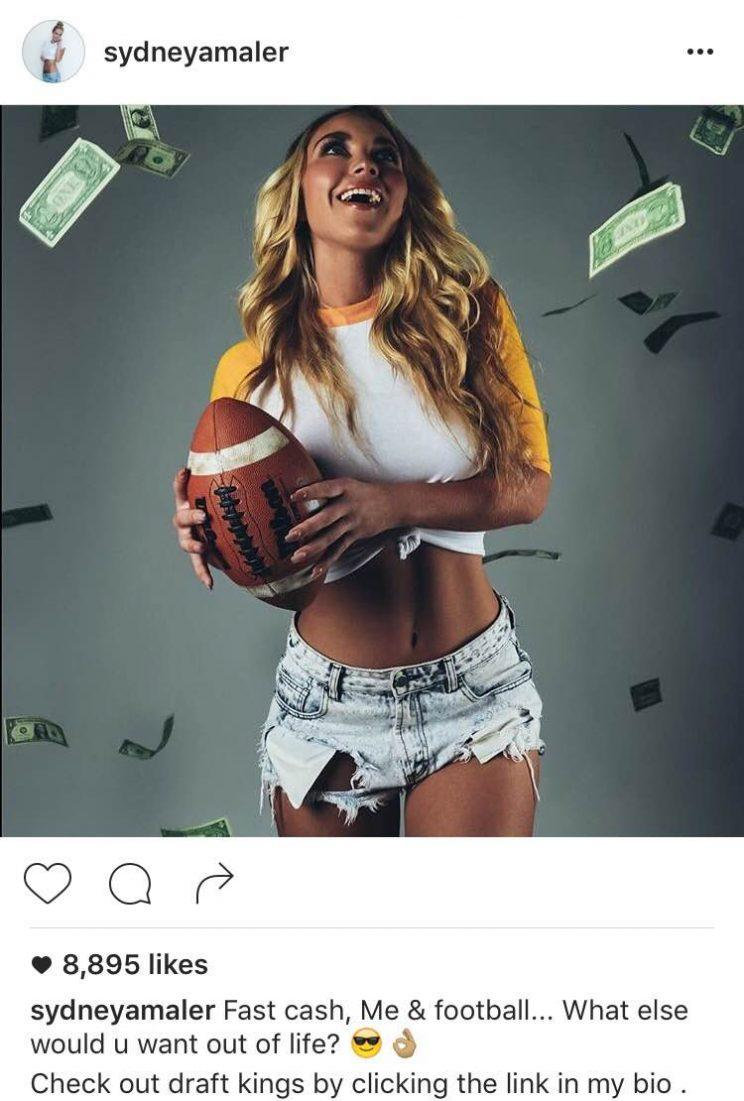Sydney Maler plugged DraftKings on Instagram and Twitter this month, but has since deleted her posts.
