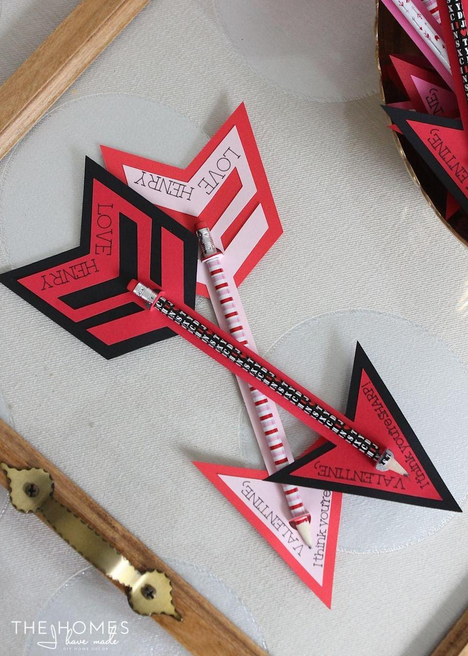 "<p>These pencil arrows make the perfect non-candy Valentine for kids to give their friends. You can use Valentine's Day-themed pencils for an added festive touch. </p><p><strong>See more at <a href=""https://thehomesihavemade.com/2015/02/pencil-arrow-valentines/"" rel=""nofollow noopener"" target=""_blank"" data-ylk=""slk:The Homes I Have Made"" class=""link rapid-noclick-resp"">The Homes I Have Made</a>. </strong></p><p><a class=""link rapid-noclick-resp"" href=""https://go.redirectingat.com?id=74968X1596630&url=https%3A%2F%2Fwww.walmart.com%2Fsearch%2F%3Fquery%3Dvalentines%2Bday%2Bpencils&sref=https%3A%2F%2Fwww.thepioneerwoman.com%2Fhome-lifestyle%2Fcrafts-diy%2Fg35084525%2Fdiy-valentines-day-cards%2F"" rel=""nofollow noopener"" target=""_blank"" data-ylk=""slk:SHOP VALENTINE'S DAY PENCILS"">SHOP VALENTINE'S DAY PENCILS</a></p>"