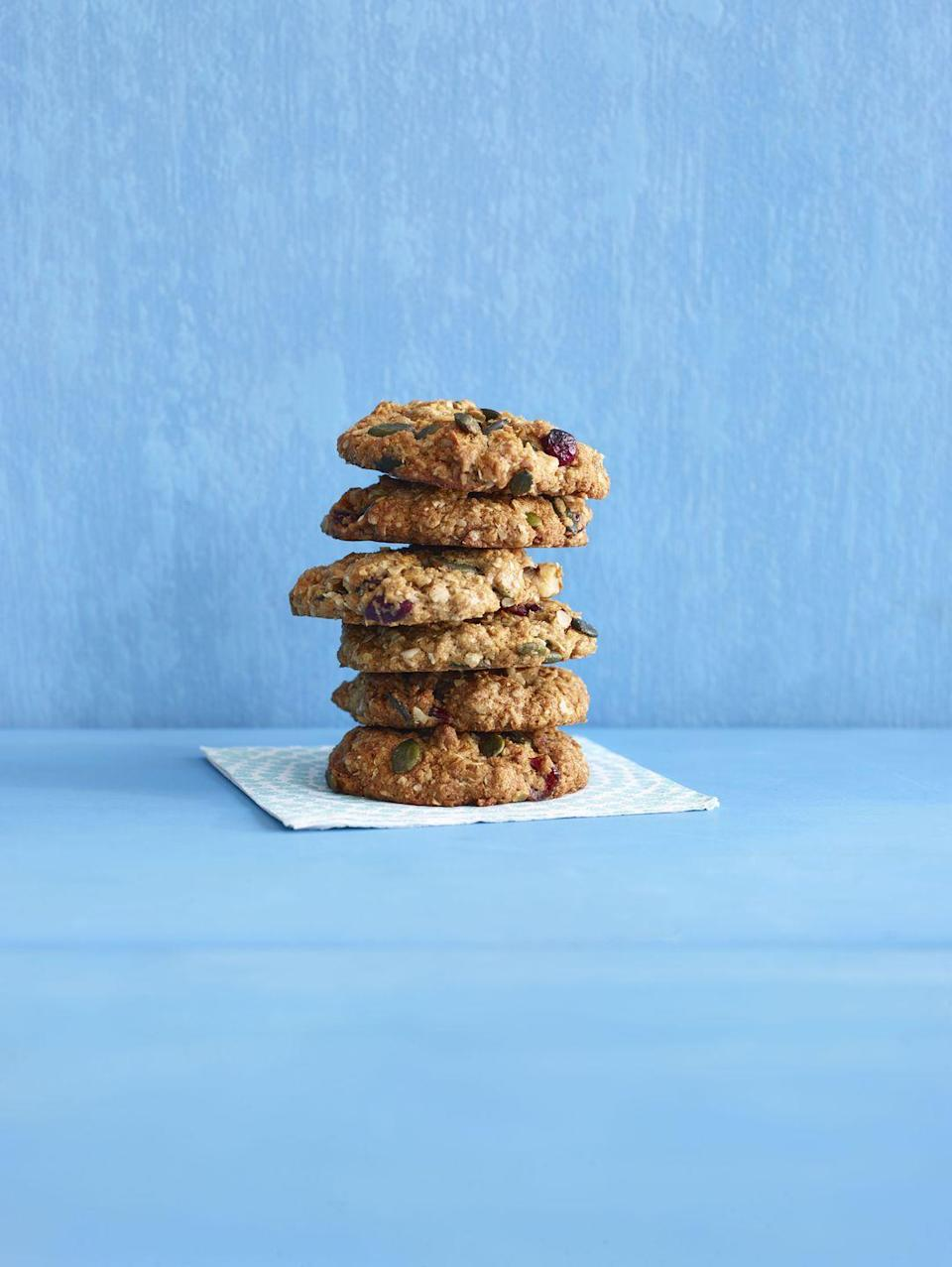 """<p>With whole-wheat flour, nuts, grains, and dried fruit, these not-too-sweet cookies make a great breakfast treat or on-the-go snack.</p><p><em><a href=""""https://www.goodhousekeeping.com/food-recipes/a15753/hearty-oat-cookies-recipe-wdy0914/"""" rel=""""nofollow noopener"""" target=""""_blank"""" data-ylk=""""slk:Get the recipe for Hearty Oat Cookies »"""" class=""""link rapid-noclick-resp"""">Get the recipe for Hearty Oat Cookies »</a></em></p><p><strong>RELATED:</strong> <a href=""""https://www.goodhousekeeping.com/food-recipes/easy/g871/quick-breakfasts/"""" rel=""""nofollow noopener"""" target=""""_blank"""" data-ylk=""""slk:55 Quick and Easy Healthy Breakfasts for Your Busiest Mornings"""" class=""""link rapid-noclick-resp"""">55 Quick and Easy Healthy Breakfasts for Your Busiest Mornings</a></p>"""