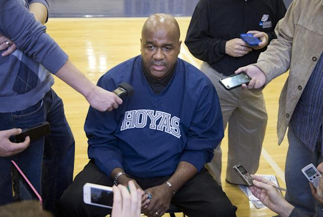 Georgetown men's basketball team head coach John Thompson III, speaks to reporters during a preseason media availability in Georgetown's McDonough Arena in Washington, Tuesday, Oct. 22, 2013. (AP Photo/Manuel Balce Ceneta)
