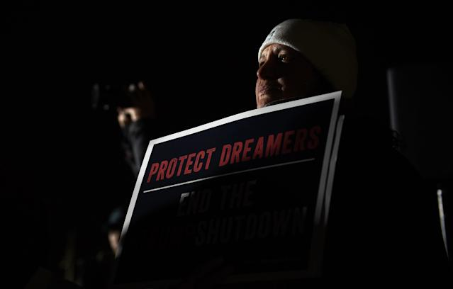 <p>Dreamers and their supporters protest outside the U.S. Capitol in Washington, D.C., Jan. 19, 2018, while lawmakers fail to negotiate a compromise legislation on the Deferred Action for Childhood Arrivals (DACA) program. (Photo: Astrid Riecken For The Washington Post via Getty Images) </p>