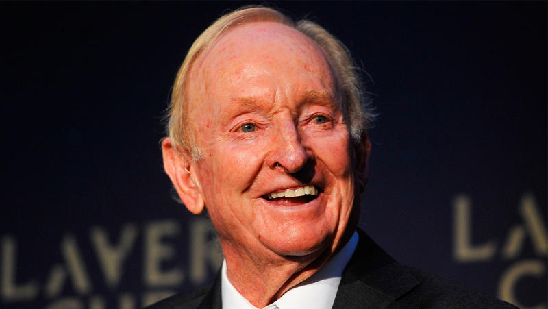 Rod Laver has offered up his '1969' original Dunlop Maxply International wooden racquet to the Bushfire Appeal. (Getty Images)