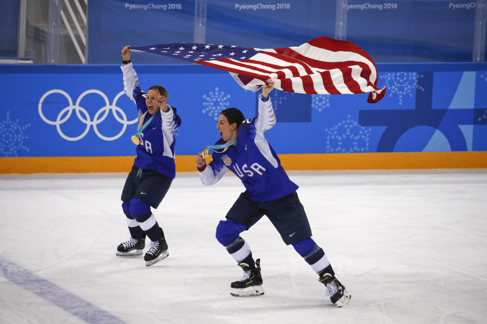 American women Kendall Coyne, left, and Hilary Knight celebrate after winning the women's gold medal hockey game against Canada. Coyne is engaged to Chargers' tackle Michael Schofield. (AP)