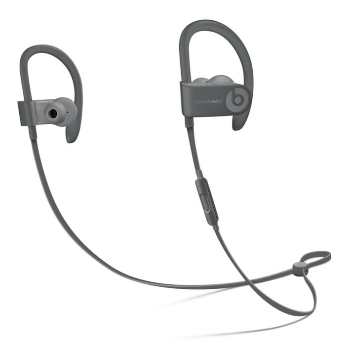 <p>These <span>Powerbeats High-Performance Wireless Earphones</span> ($150) by Beats by Dre are tough, sweat- and water-resistant buds designed specifically for workouts. The cable wraps around the back of the head, which means it's not getting in the way of bicep curls or bodyweight exercises. The headphones can connect to a phone via Bluetooth, so they won't have to worry about dropping a weight on their device. The Powerbeats will play tunes for up to 12 hours.</p>