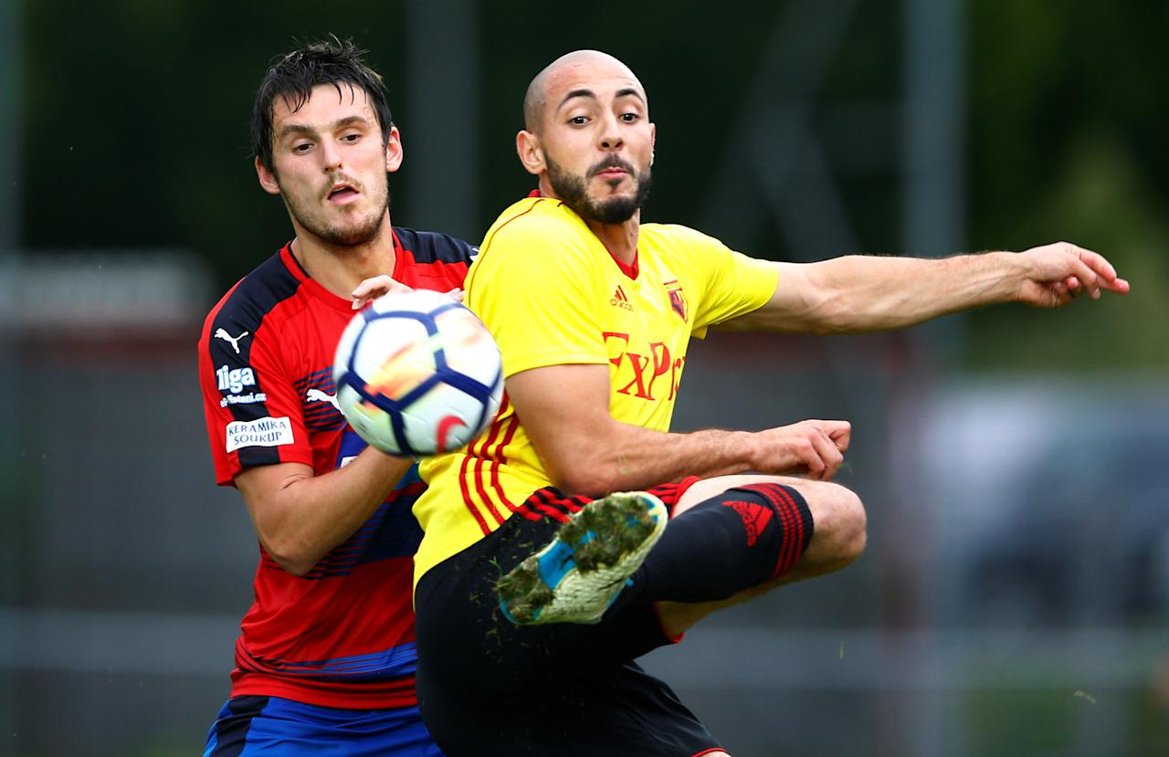 Soccer Football - Viktoria Plzen vs Watford - Pre Season Friendly - Worgl, Austria - July 18, 2017   Watford's Nordin Amrabat in action   REUTERS/Dominic Ebenbichler