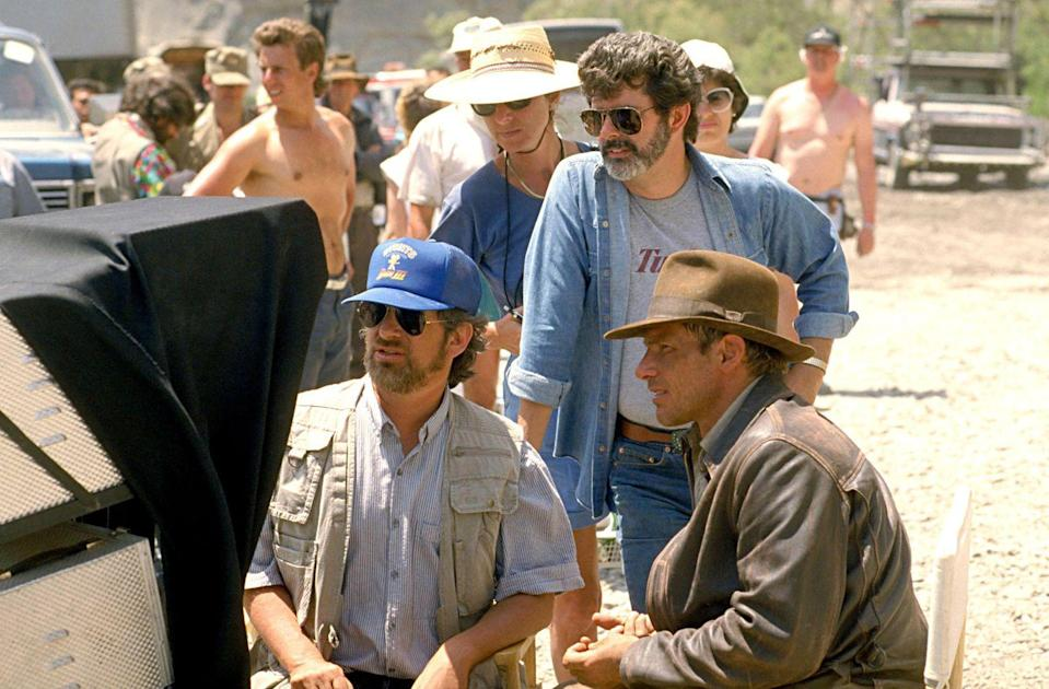 <p>Spielberg, Lucas, and Ford on the set of <em>Indiana Jones and The Last Crusade</em>.</p>