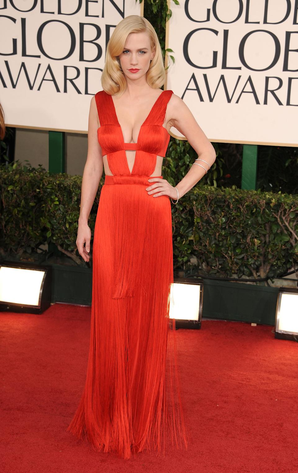 January Jones at the 68th Golden Globe Awards in 2011. (Image via Getty Images)