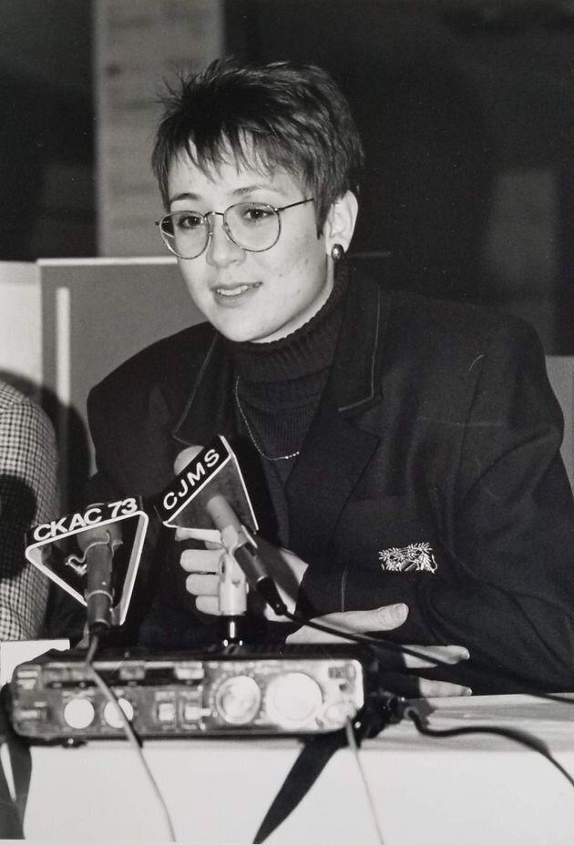 Nathalie Provost speaking to news outlets after the massacre. (Photo: Courtesy of Nathalie Provost)
