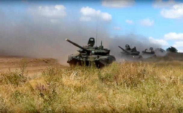 PHOTO: Tanks roll during the military exercises in Chita, Eastern Siberia, during the Vostok 2018 exercises, Sept. 11, 2018. (Russian Defense Ministry Press Service/AP)