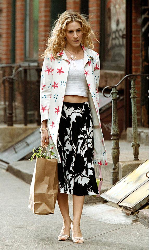 16. Carrie delivered this unforgettable fashion faux pas, featuring mismatched patterns and a belly-baring tee, as she delivered a plant to Steve and Aidan's new bar, congratulating them on the grand opening. Luckily, she changed into something a little sexier for the party that evening.