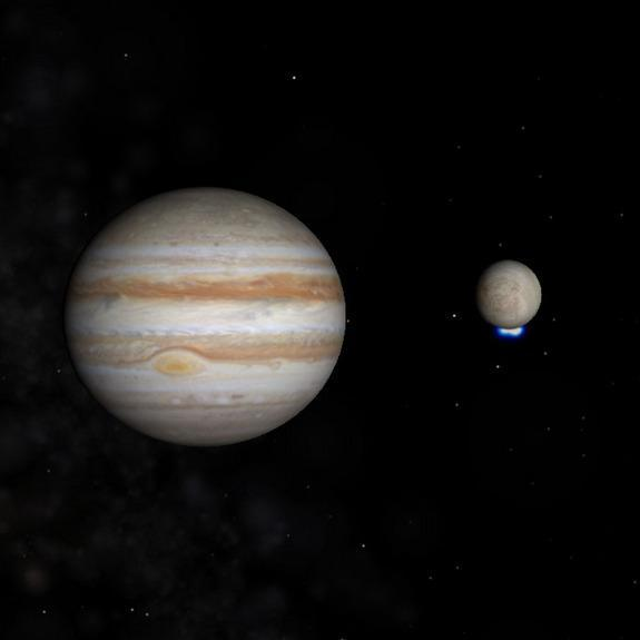 This image shows Jupiter and its icy moon Europa, with the moon's bright ultraviolet light signal from south polar water vapor plumes shown in blue. Image released Dec. 12, 2013.