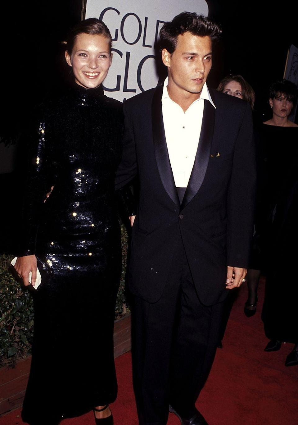 <p>Kate Moss exemplified elegance in a sparkly mock-neck dress, which she wore on the red carpet in 1995. </p>