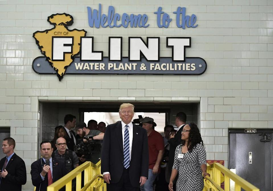 Donald Trump tours the Flint water plant on September 2016 in Flint, Michigan. The EPA has been criticized for the handling of the Flint drinking water crisis.